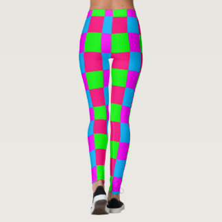 Seamless  coloured checked pattern leggings
