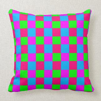 Seamless  coloured checked pattern throw pillow