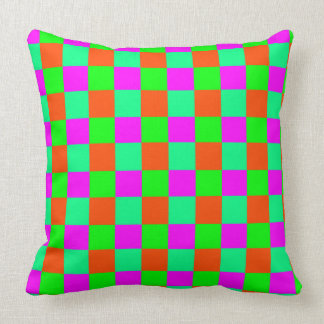 Seamless  coloured checked pattern throw pillow