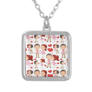 Seamless couple kissing and hugging silver plated necklace