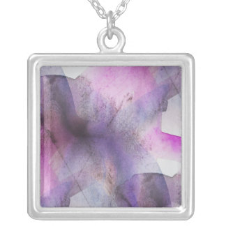 seamless cubism purple abstract art silver plated necklace