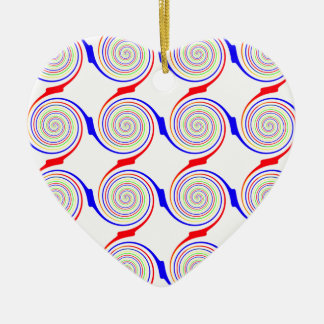 Seamless Curl Pattern Ceramic Heart Ornament