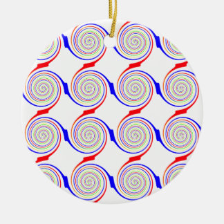 Seamless Curl Pattern Round Ceramic Ornament