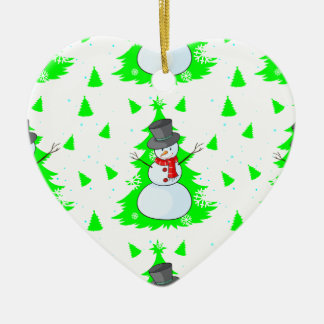 Seamless design with a snowman ceramic heart ornament