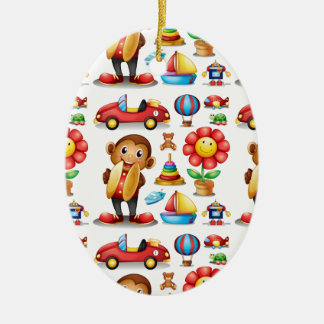 Seamless different kind of toys ceramic oval ornament