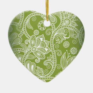Seamless Floral Vector Image Ceramic Heart Ornament