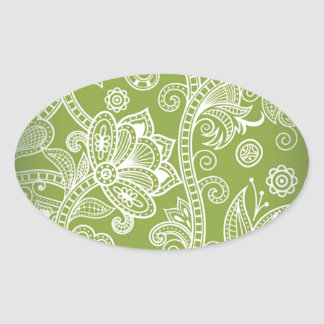 Seamless Floral Vector Image Oval Sticker