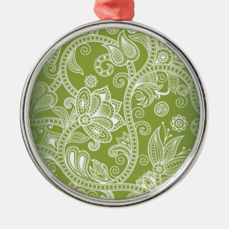 Seamless Floral Vector Image Silver-Colored Round Ornament