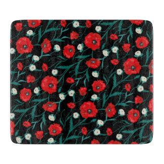 Seamless Flower  Poppies and Roses  Pattern Cutting Board
