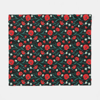 Seamless Flower  Poppies and Roses  Pattern Fleece Blanket