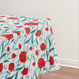 Seamless Flower  Poppies and Roses  Pattern. Summe Tablecloth