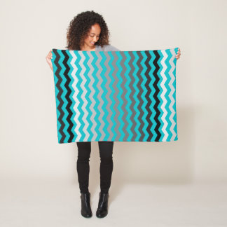 Seamless Gradient Chevron Pattern on Turquoise Fleece Blanket