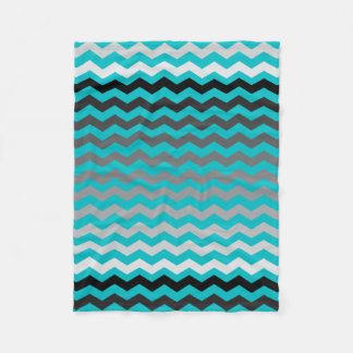 Seamless Gradient Chevron Pattern on Turquoise Fleece Blanket