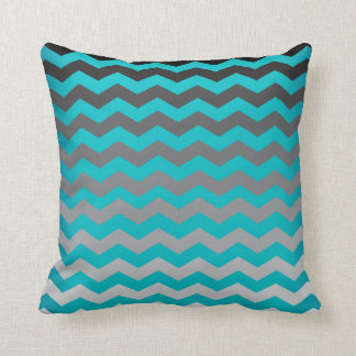 Seamless Gradient Chevron Pattern on Turquoise Throw Pillow
