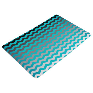 Seamless Gradient Chevron Pattern - Turquoise Blue Floor Mat