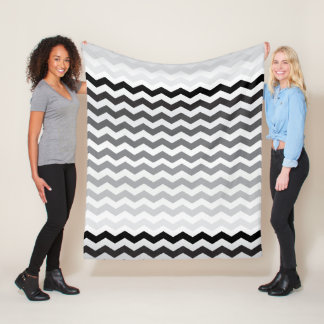 Seamless Gradient Chevron Pattern - White and Gray Fleece Blanket