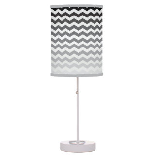 Seamless Gradient Chevron Pattern - White and Gray Table Lamp