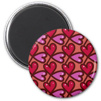 Seamless Hearts #2 2 Inch Round Magnet