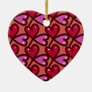 Seamless Hearts #2 Ceramic Ornament