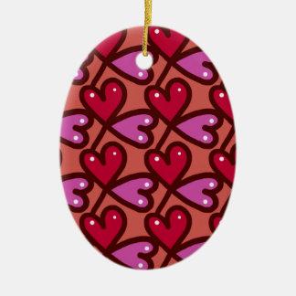 Seamless Hearts #2 Ceramic Ornament