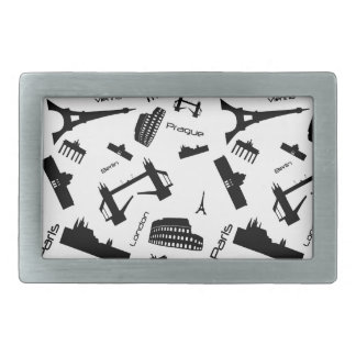Seamless landmarks background belt buckle