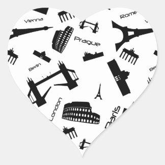 Seamless landmarks background heart sticker