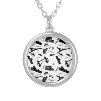 Seamless landmarks background silver plated necklace