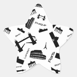 Seamless landmarks background star sticker