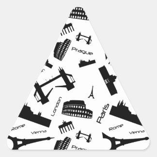 Seamless landmarks background triangle sticker