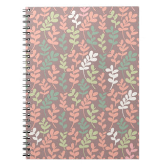 Seamless leaves pattern spiral notebook