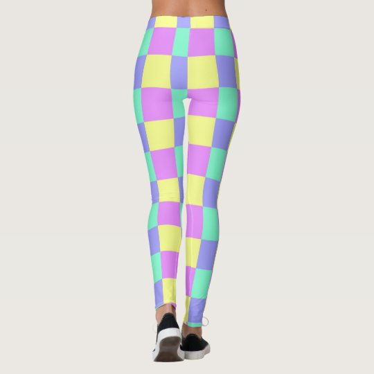 Seamless  pastel coloured checked pattern leggings