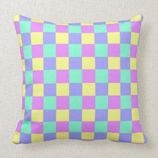 Seamless  pastel coloured checked pattern throw pillow