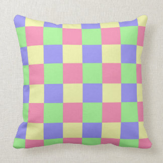 Seamless  pastel coloured checked pattern throw pillow