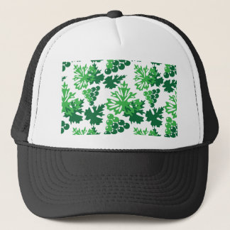 seamless pattern of leaves with grapes trucker hat