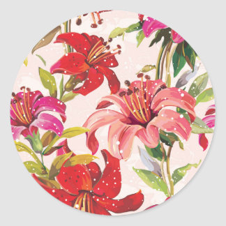 Seamless pattern with Lily Classic Round Sticker
