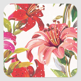 Seamless pattern with Lily Square Sticker