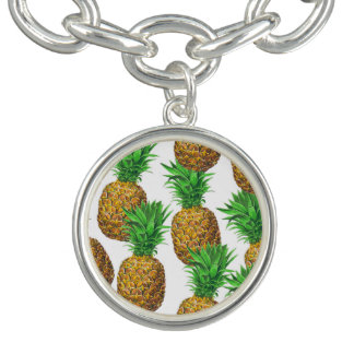Seamless pattern with pineapples bracelets