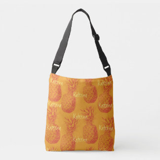 Seamless pattern with pineapples crossbody bag
