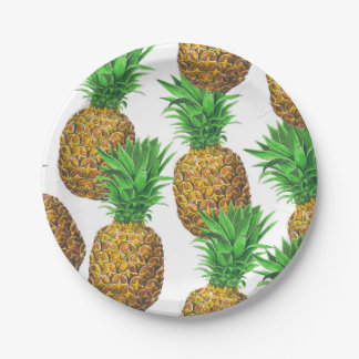 Seamless pattern with pineapples paper plate