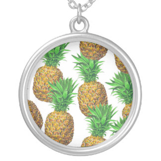 Seamless pattern with pineapples silver plated necklace