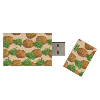 Seamless pattern with pineapples wood USB flash drive