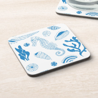 Seamless pattern with sea shells beverage coasters