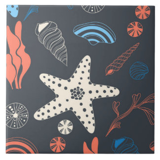 Seamless pattern with sea shells ceramic tiles