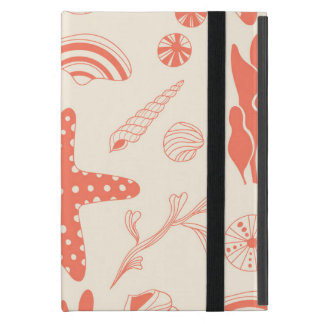 Seamless pattern with sea shells covers for iPad mini