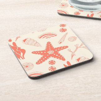 Seamless pattern with sea shells drink coasters