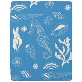 Seamless pattern with sea shells iPad cover