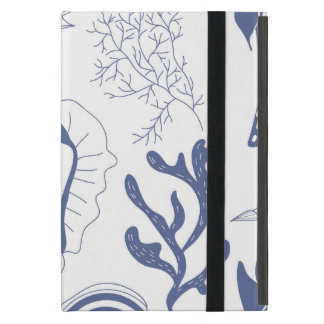 Seamless pattern with sea shells iPad mini cases
