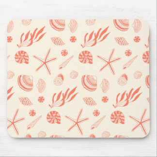 Seamless pattern with sea shells mouse pad