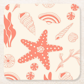 Seamless pattern with sea shells square paper coaster