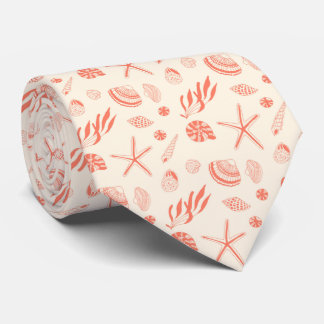 Seamless pattern with sea shells tie